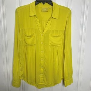 Anthropologie Maeve Yellow Blouse Size Small